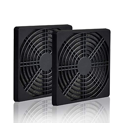 ELUTENG 120 mm Lüfterabdeckung mit Staubfilter Gute Qualität PC Kühler Lüfter Staub Filter, Fan Staubdicht Grill Case - 3 in 1 (2 Fan Grills und 1 Staub Filter), Schwarz (2 Kombinationen) MEHRWEG