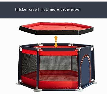 Barriere enfant Toddler Clôture Bébé Parcs Bébé Bébé Ramper Tapis Intérieur Aire De Jeux pour Enfants Sécurité Clôture Ménage Portable Tapis avec Tapis (Couleur : Rouge)