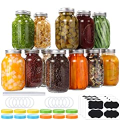 SET OF 12 LARGE MASON JARS - 32 oz glass mason jars high-quality clear Lead-Free durable glass, the transparent glass can clearly distinguish what is inside, coming with lids and bands, the seal tightly colored plastic storage lids, blank labels and ...