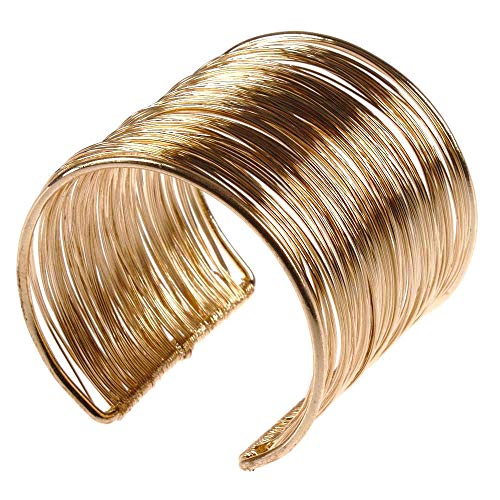 Handgefertigter Armreif aus Metall in gold Armspange Spange Bangle Vintage Armband (gold)