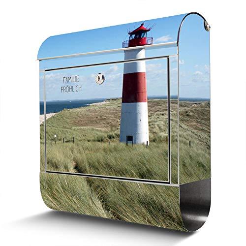 BANJADO Edelstahl Briefkasten mit Zeitungsfach, Design Motivbriefkasten, Briefkasten 38x43,5x12,5cm groß Motiv Leuchtturm mit eigenem Text