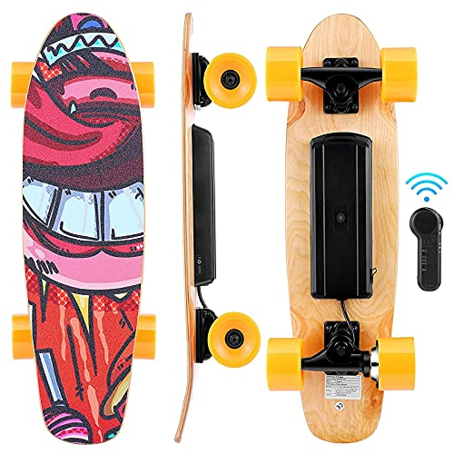 Electric Skateboard with Wireless Remote Control,3 Speed E-Skateboard 12.4 MPH Max Speed,350W Silent...