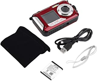 Leoie 2.7inch TFT Digital Camera Waterproof 24MP MAX 1080P Double Screen 16x Digital Zoom Camcorder HD268 Underwater Camera red