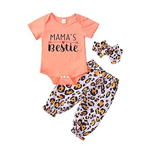 WangsCanis Conjunto de 3 piezas para bebé y niña, con estampado de leopardo, con lazo, para niño, de manga corta, para deporte, de leopardo, con lazo, para ropa informal NARANJA 12-18 Meses