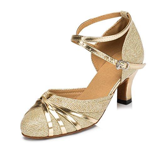URVIP Neuheiten Frauen's Pailletten Heels Absatzschuhe Moderne Latein-Schuhe mit Knöchelriemen Tanzschuhe LD072 Gold 40 EU