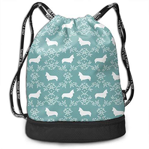 PmseK Drawstring Bag Bundle Backpack, Drawstring Bag Corgi Breed Silhouette Florals Gulf Shoulder Bags Travel Sport Gym Bag Print - Yoga Runner Daypack Shoe Bags With Zipper And Pockets