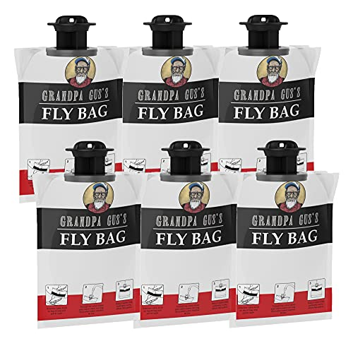 Grandpa Gus's Fly Bags, Disposable Outdoor Hanging Traps, Lure Flying Insects with Natural Food-Based Bait, No Poison, Safe & Easy to Use (Pack of 6)