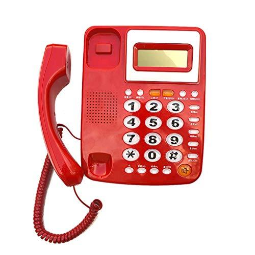 Sywlwxkq Teléfono Teléfono Fijo, Teléfono Fijo.Botones Grandes de Cristal, Pantalla LCD de Alta definición, 4 Grupos de marcación con un Solo Toque.Rojo Blanco