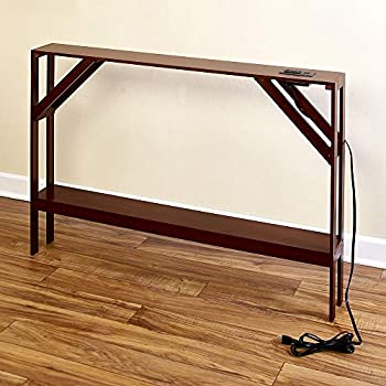 Briskly41 Skinny Sofa Table with Outlet for Phones and Laptops Modern Accent Smaller Walnut