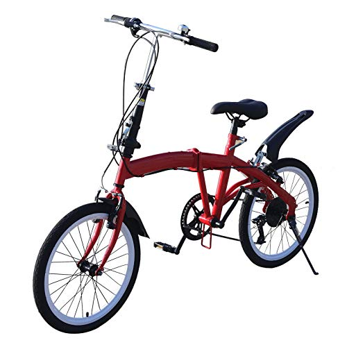 Bicicletta pieghevole da 20' in acciaio al carbonio, unisex, pieghevole, 7 marce, velocità variabile, freno anteriore a V e freno posteriore, per adulti, bicicletta da città portatile (rosso)
