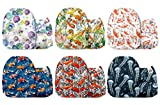 Mama Koala One Size Baby Washable Reusable Pocket Cloth Diapers, 6 Pack Nappies with 6 One Size Microfiber Inserts (Go4Fish)