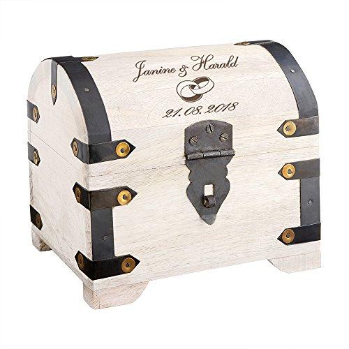 Casa Vivente Schatztruhe mit Gravur zur Hochzeit, Motiv Ringe, Personalisiert mit Namen und Datum, Schmuckkästchen aus weißem Holz, Geldgeschenke