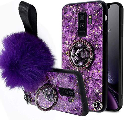 Herbests Compatible para Samsung Galaxy S9 Plus Funda de Silicona Ultrafina con Soporte Anillo Purpurina Diamante Rhinestone + Hairball Estuche Antichoque Anti-Scratch Cover,Púrpura