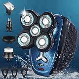 Maquina de Afeitar hombre 5D, Afeitadora Barba Hombre 5 en 1, Afeitadora Electrica Hombre Recargable, Maquinilla de Afeitar para Barba, Nariz, Orejas y Limpieza Facial