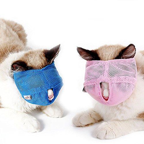 NACOCO Katzenmaulkorb aus atmungsaktivem Netzstoff, verhindert Beißen und Kauen (S, Pink)