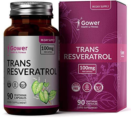 GH Trans Resveratrol 100mg del Extracto de Knotweed Japonés | 90 Capsulas Veganas | Antioxidantes Potentes | Suplemento de Polifenoles de Estilbenoides Naturales | Sin OGM y Sin Gluten