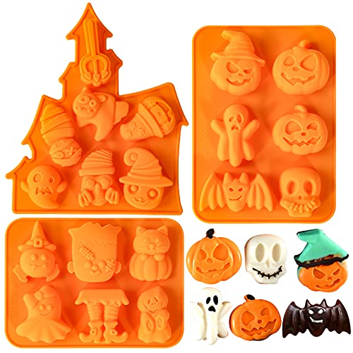Homyplaza 3PCS Halloween Silicone Baking Molds, Nonstick Silicone Ghost Pumpkin Cake Molds, Cookies Molds DIY Halloween Bat, Skull and Chocolate Fondant Baking Moulds Set for Kitchen Baking Tools
