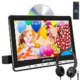 PUMPKIN - 12' DVD para Reposacabezas de Coche con Auriculares, Reproductor de DVD con IPS Pantalla de Unidad Óptica de Succión, Soporta USB SD, Región Libre