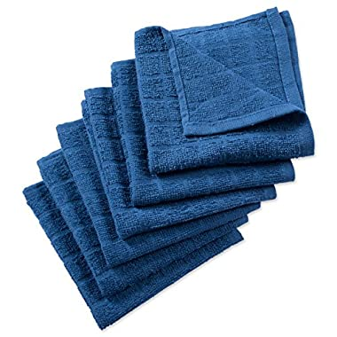 DII Cotton Terry Windowpane Dish Cloths, 12 x 12  Set of 6, Machine Washable and Ultra Absorbent Kitchen Bar Towels-Solid Blue