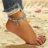 Edary Boho doble Joyera concha de la turquesa para el tobillo de plata con cuentas pulsera tobillera estrellas de mar de la playa del pie para mujeres y nias