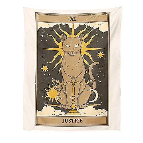 ZLLMY Tarot Card Tapicería Boho Tapices Tapas Colgando Cat Misterioso Divinación Britchcraft Playa Luna Fase Mat Decoración Cat Coven Colgante de Pared de la Sala de Estar del dormitor