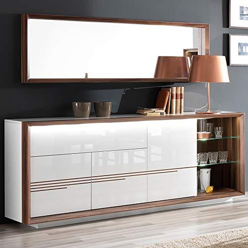 Dressoir wit gelakt en kleur notenhout modern met LED Lugos