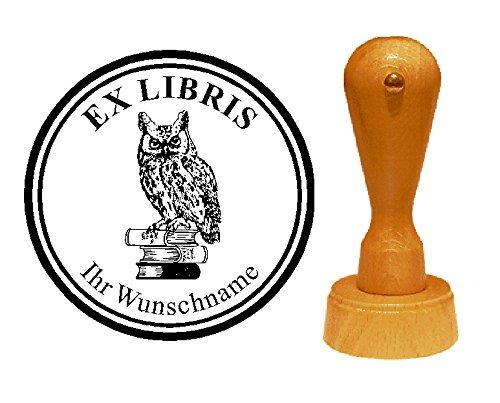 Ex Libris Exlibris stempel Uil op boeken - met persoonlijke wensnaam en motief