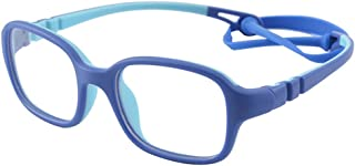 Kids Glasses Frame Flexible Smart Looks Cute Eyewear Frame with Clear Square Lens for Boys Girls(Age 2-5)