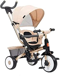 Multifunctional children's tricycle bicycle baby stroller (Color : Gold) JB-Tong