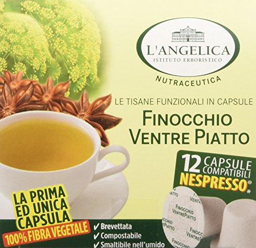 L'Angelica, Tisana Ventre Piatto in Capsule Compostabili 100% Fibra Vegetale (Compatibili Nespresso), Tisana Funzionale con Finocchio e Anice Stellato, Distensiva, 12 Capsule