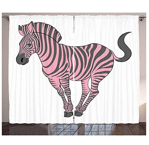 MUXIAND Roze Zebra gordijnen natuurlijke baby zebra in grappige pose dierentuin wilde horse kinderen thema woonkamer slaapkamer raamgordijnen