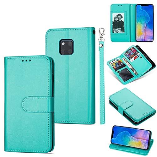 GUODONG Carcasa de telefono for Huawei Mate 20 Pro Ultra-Thin 9 Card Horizontal Flip Funda de Cuero, con Ranuras y Soporte for Tarjetas y cordón Funda Trasera para Smartphone (Color : Green)