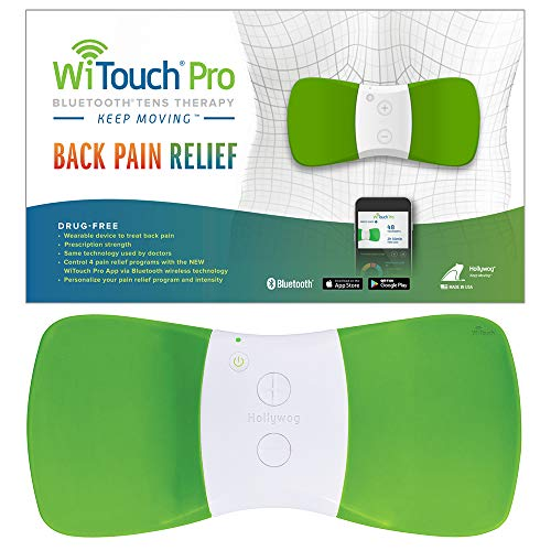 WiTouch Pro Bluetooth TENS Unit for Back Pain Relief, Includes 3 Pairs of Gel Pads (Green)