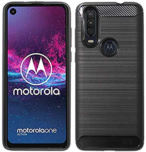 cofi1453® siliconen hoes carbon compatibel met Motorola ONE Action TPU Case Soft Phone Case Cover beschermhoes zwart