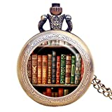 Book Story Pocket Watch Vintage Fairytale Library Book Shelves Handmade Pocket Watch with Necklace Chain