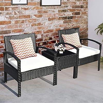 Tangkula 3 PCS Patio Conversation Set, Outdoor Rattan Sofa Set with Beige Seat Cushions & Coffee Table, Patio Wicker Furniture Set for Garden Balcony Backyard Poolside (Black)