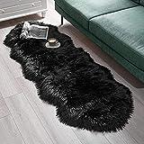 SXYHKJ Faux Lammfell Schaffell Teppich Lammfellimitat Teppich Longhair Fell Optik Nachahmung Wolle Bettvorleger Sofa Matte (schwarz, 60 x 160 cm)