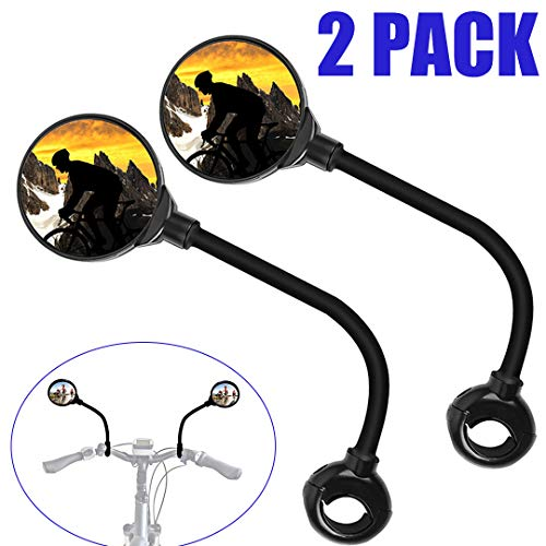 Oriflame Bike Mirror, Bicycle Wide Angle Rear View Safe Mirrors, Handlebar Mounted Convex Mirror 360 Degree Adjustable Rotatable for Bike Mirror Electric Motorbike Motorcycles (2 Pack)