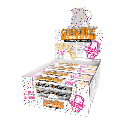 Grenade Carb Killa High Protein and Low Carb Bar, 12 x 60 g - Birthday Cake