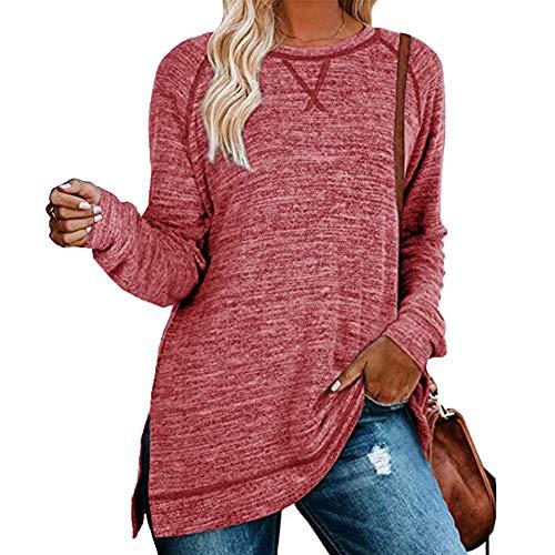2020 OtoñO E Invierno Nuevo SuéTer De Color SóLido para Mujer con Cuello Redondo Suelto Cruzado Camiseta