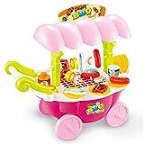 Puppenhaus Pretend Play Lebensmittel BBQ Hot Dog Fisch Fleisch Wagen Trolley Set Spielzeug mit Musik...
