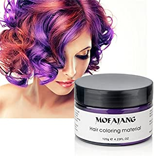 Purple Hair Color Wax, Temporary Hairstyle Cream 4.23 oz Hair Pomades, Natural White Hairstyle Wax for Party, Cosplay, Halloween, Date (Purple)