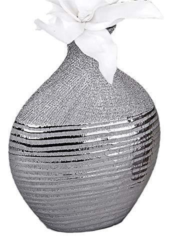 Jarrón Decorativo (18x 25cm plata rayas (Izquierda imagen)