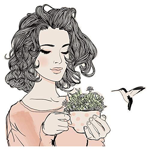 dekodino® Wandtattoo Modernes Design Frau mit Tasse und Kolibri Wanddekoration
