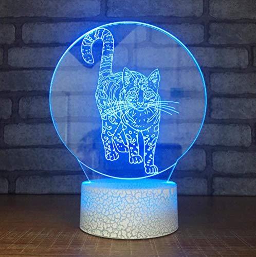 Luz de estado de ánimo de gato 3D, 7 colores cambiantes, luz de noche, decoración para el hogar, regalo de los niños