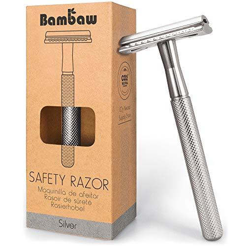 Metal Safety Razor | Silver Razor | Waste Free Double Sided Razor | Vintage Razor | Shaving Razor | Fits All Double Edged Razor Blades | Metal Razor Safety | Zero Waste Razor | Timeless Razor | Bambaw