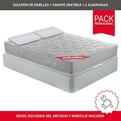 PIKOLIN Pack Colchón viscoelástico de muelles 150x190+ canapé Base abatible Blanca y Dos Almohadas de Fibra, Incluye Subida a Domicilio, Montaje y Retirada de Usado