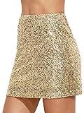 Verdusa Women's Above Knee Sequin Sparkle Mini Skirt Gold L