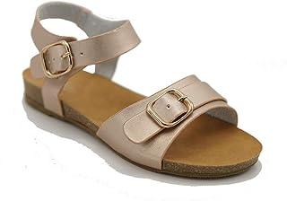 Z. Emma Women's Open Toe Metallic Buckle Ankle Strap Flat Sandals Flexible Summer Beach Shoes WP02