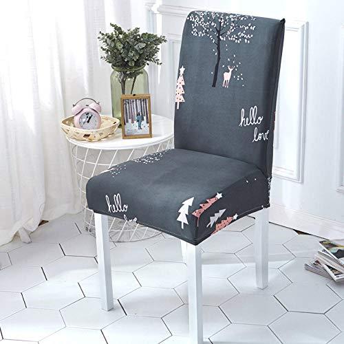 Fundas para sillas Arbol de Navidad Gris Fundas sillas Comedor Fundas elásticas, Fundas de Asiento para Silla,Diseño Jacquard Cubiertas de la sillas,para el Hogar, Restaurante, Bar(6 Piezas)